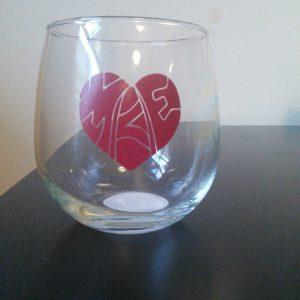 Heart Milwaukee Wine Glass Red