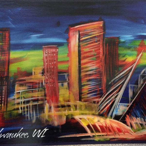 Milwaukee Skyline Postcard - Natalja Yatsuka Painting Print