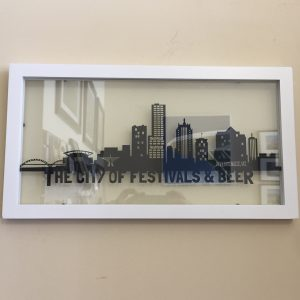 Milwaukee Skyline on Glass – Framed