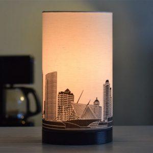 Milwaukee Skyline Drum Lamp