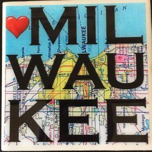 Heart Milwaukee Map Coaster