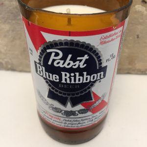 Pabst Blue Ribbon Beer Bottle Candle