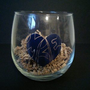 Heart Milwaukee Wine Glass Blue
