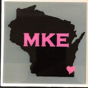 Wisconsin MKE Heart Pink Coaster
