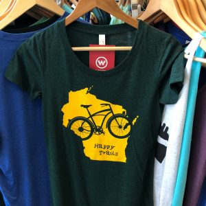 Wisconsin Happy Trails T-Shirt – Yellow on Green