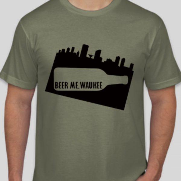 Beer Me Waukee Bottle Skyline T-Shirt – Green