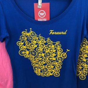Forward Wisconsin T-Shirt – Yellow on Blue