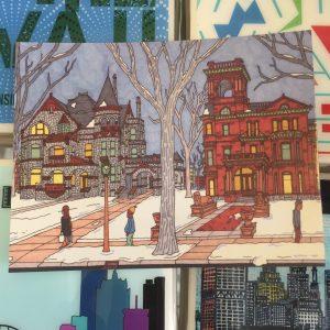 Van Buren Mansions Postcard – John O'Neil Drawing