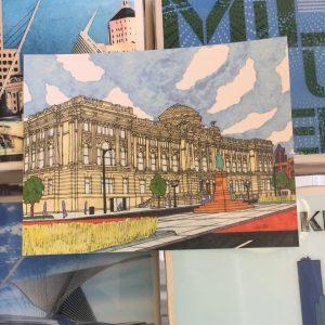Milwaukee Central Library Postcard – John O'Neil Drawing