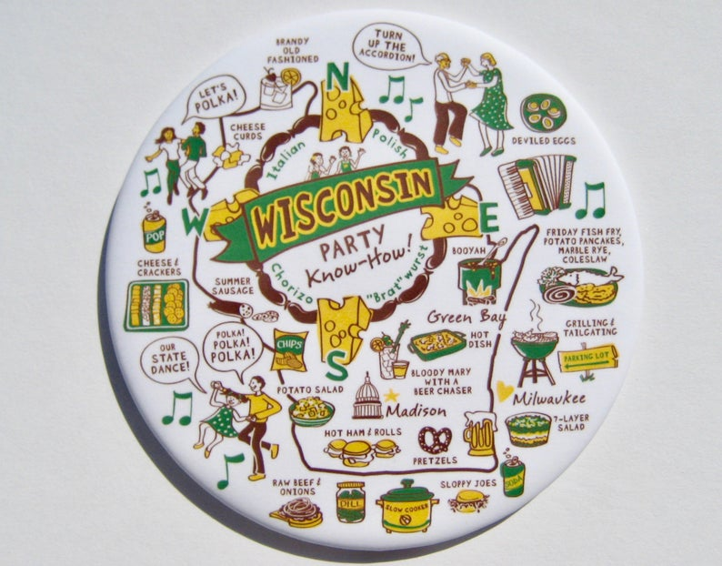 Wisconsin Party Know-How Magnet - Green and Gold