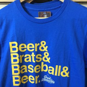 Drink Wisconsinbly Blue T – Shirt: Beer & Brats