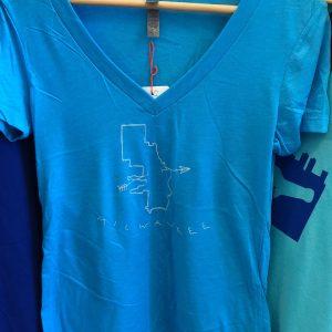 Milwaukee Map Arrow Woman's T-Shirt – Light Blue