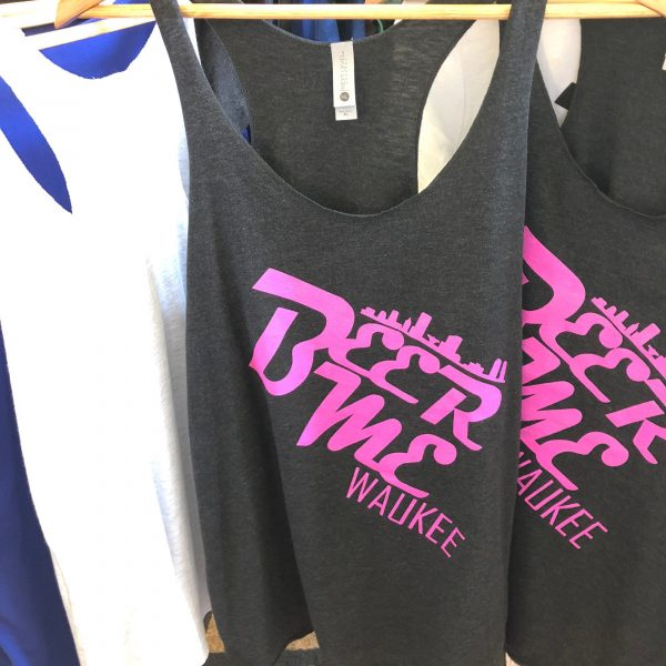 Beer Me Waukee Racer Back Tanktop – Pink on Black