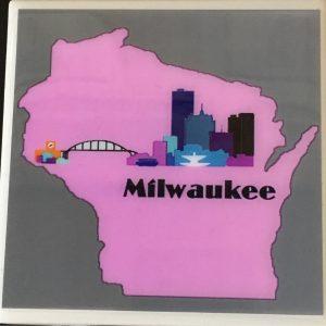 Wisconsin City Pink Coaster