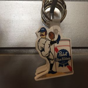 Pabst Blue Ribbon Baseball Keychain