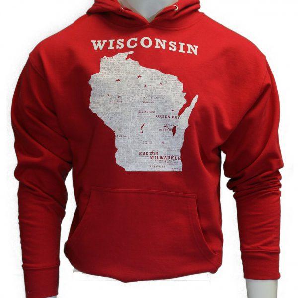 Wisconsin Hooded Sweatshirt – Red