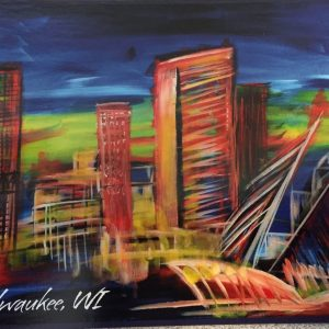 Milwaukee Skyline Postcard – Natalja Yatsuka Painting Print