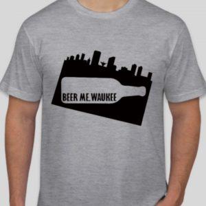 Beer Me Waukee Bottle Skyline T-Shirt – Gray