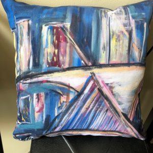 Milwaukee Skyline Painting Pillow