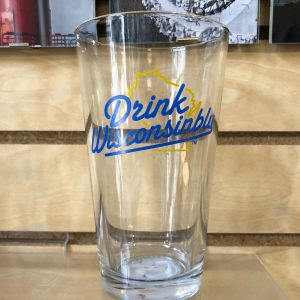 Drink Wisconsinbly Classic Blue & Yellow Pint Glass