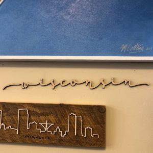Wisconsin Floating Wood Script