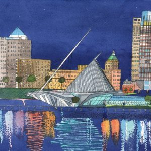 Nighttime Calatrava Postcard