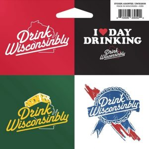 Drink Wisconsinbly Sticker Assorted 4 Pack
