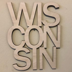 Wisconsin Floating Wood Letters Stacked