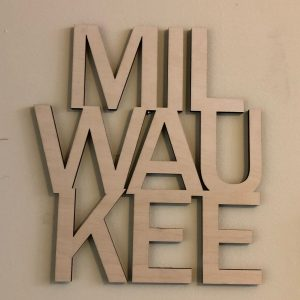 Milwaukee Floating Wood Letters Stacked
